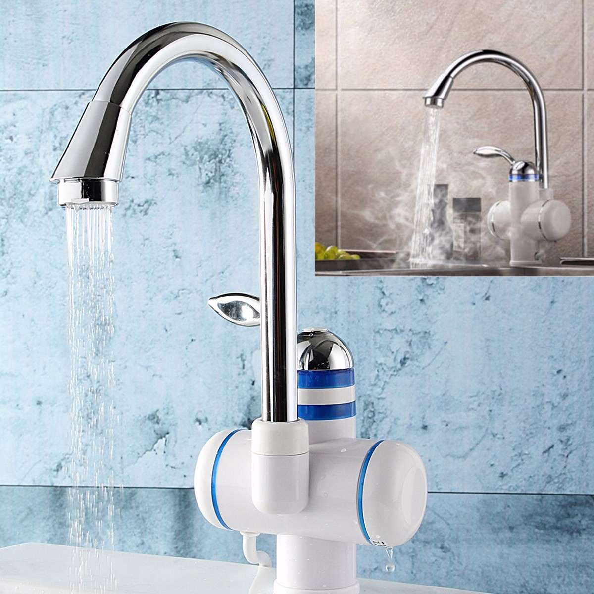 Tankless Instant Electric Hot Water Heater Faucet Bathroom Kitchen ...