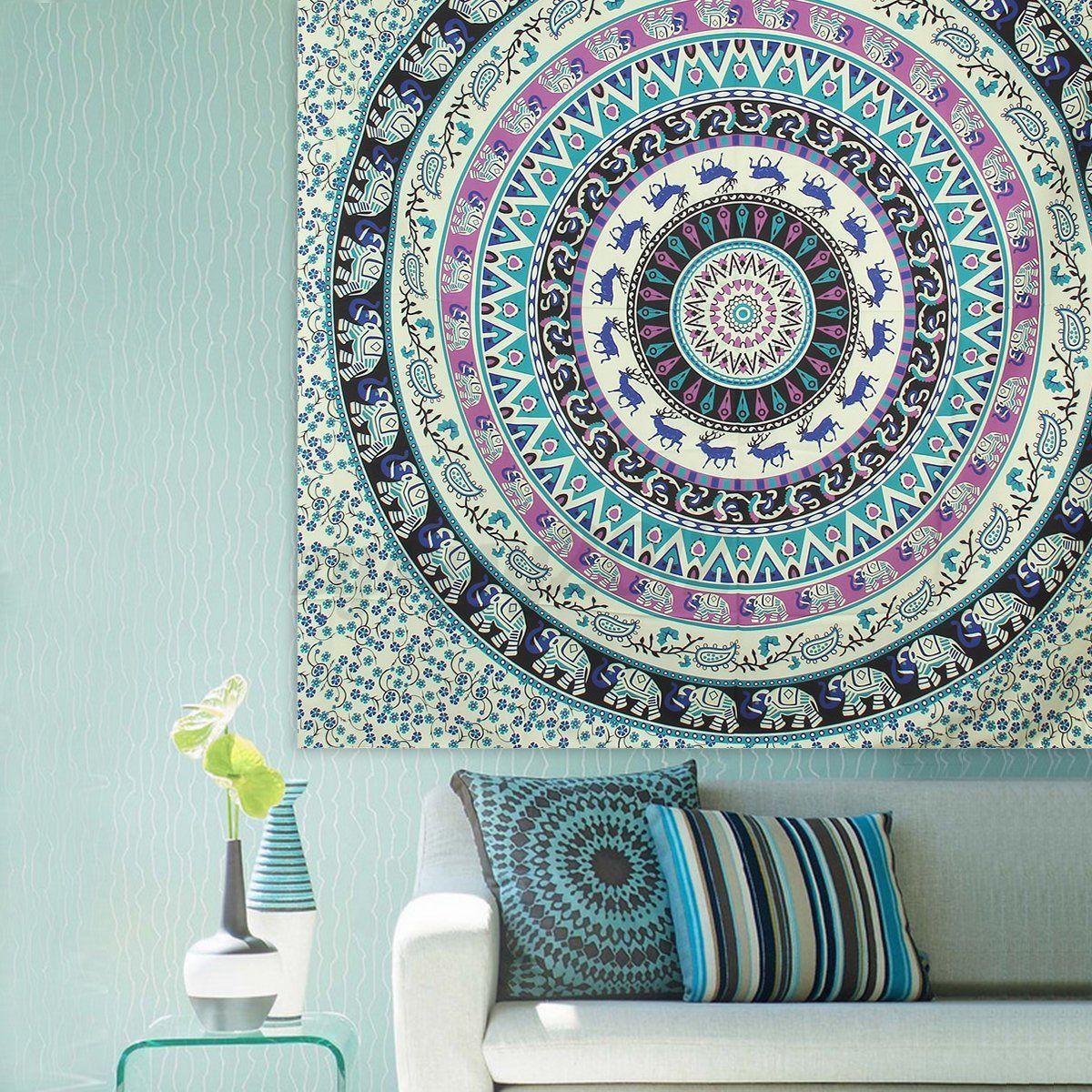 Mandala boh me hippie tenture murale jet lit serviette for Decoration murale mandala