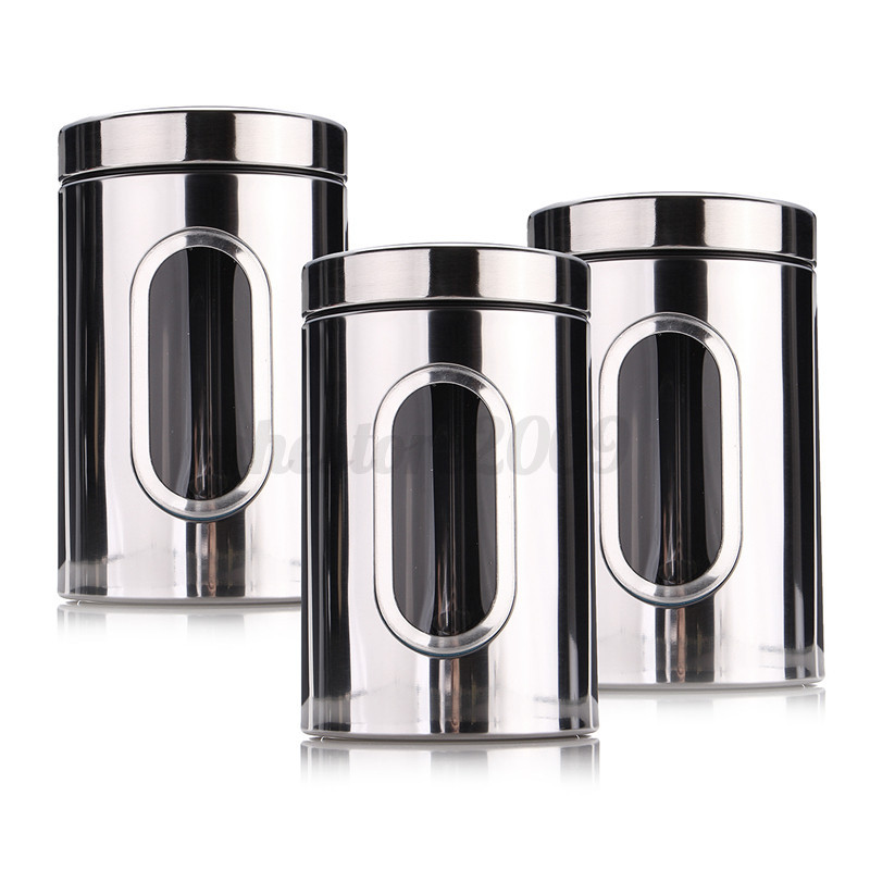 stainless steel storage containers for kitchen 3pcs kitchen stainless steel canister jar lid container 9420