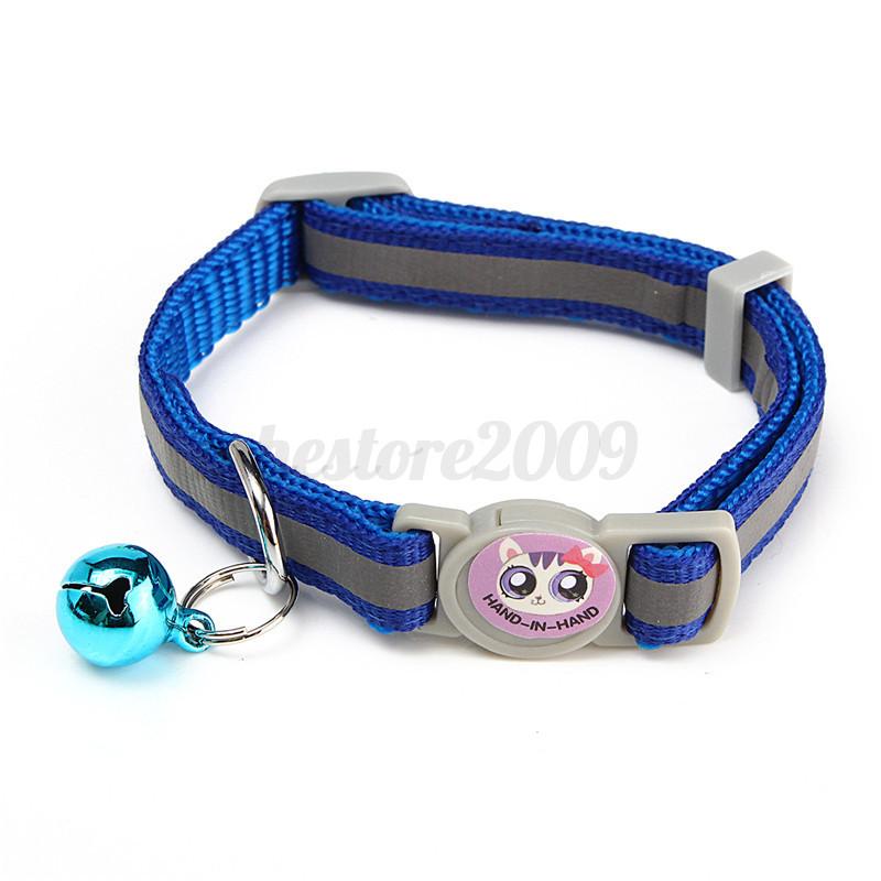 12pcs lot pet cat safety collar with bell reflective breakaway kitten dog collar ebay. Black Bedroom Furniture Sets. Home Design Ideas