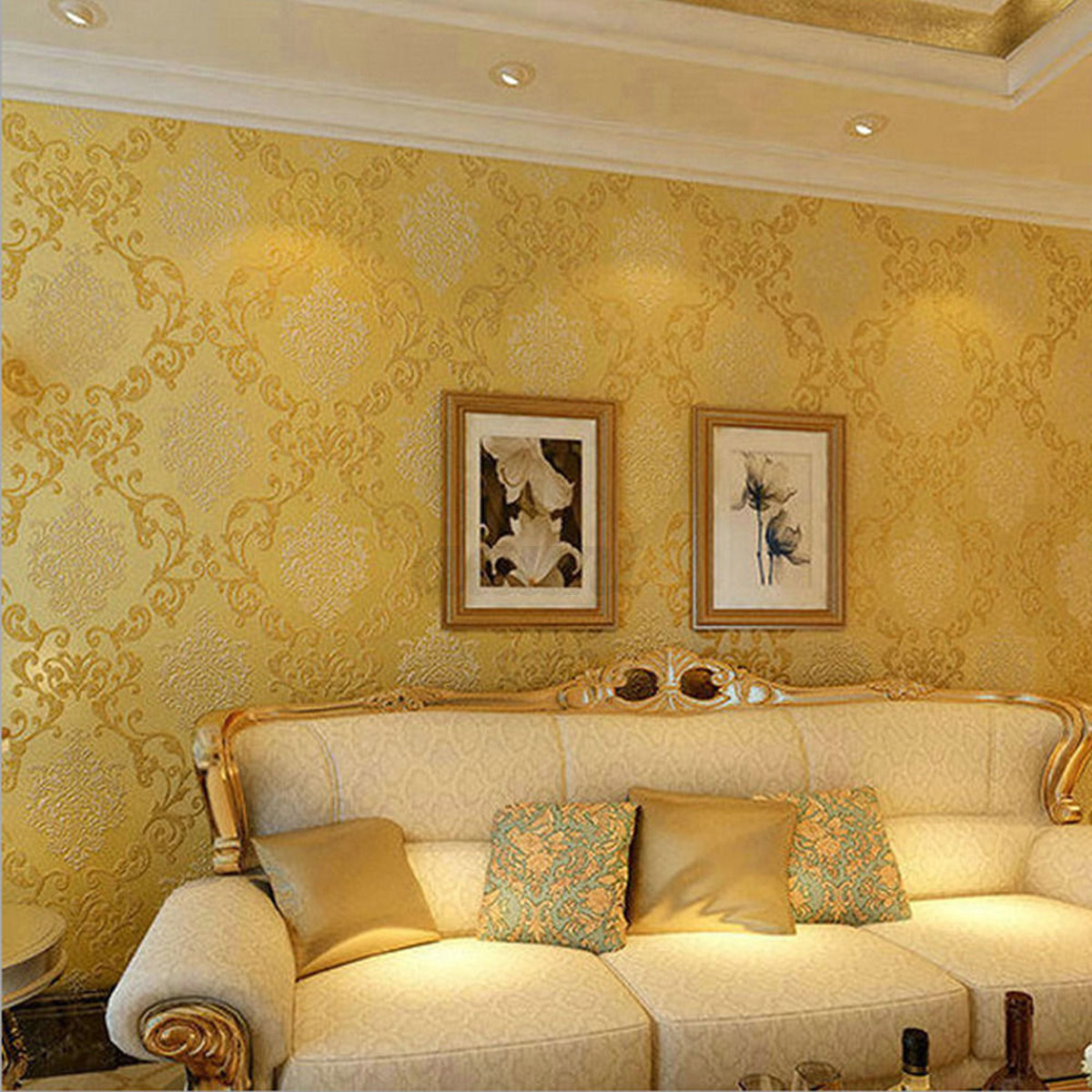 10m Modern Luxury Damask Embossed Flocking Roll Paper Bedroom Home ...
