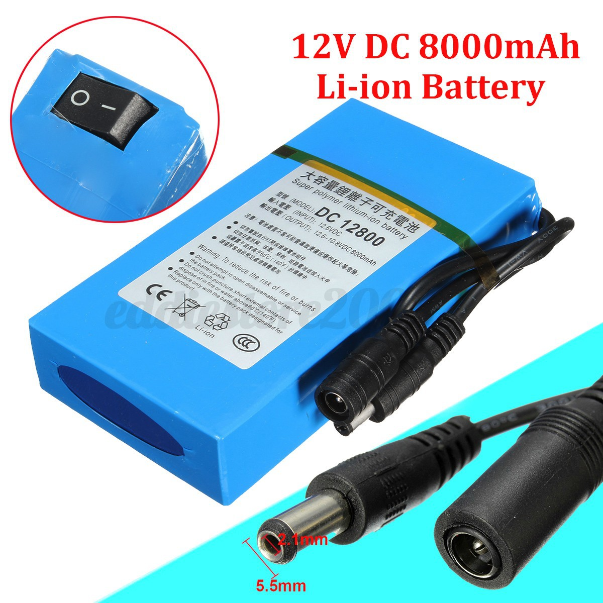 DC 12V 8000mAh DC 12800 Rechargeable Portable Li-ion Battery for ...
