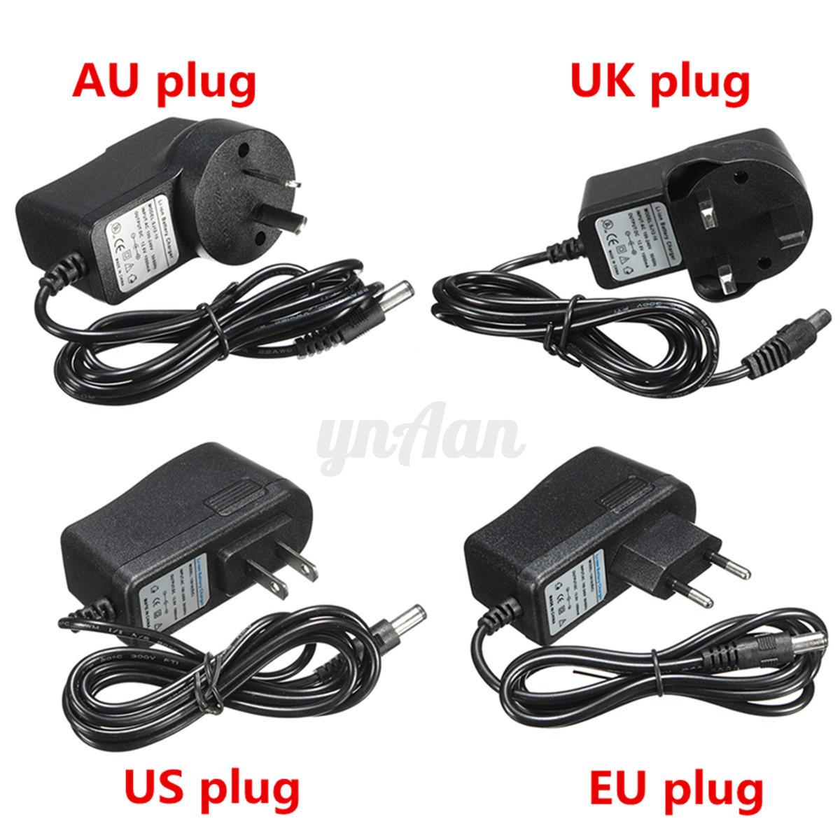DC 12.6V Battery Rechargeable Charger EU/AU/UK/US Plug For 12.6V Li ...