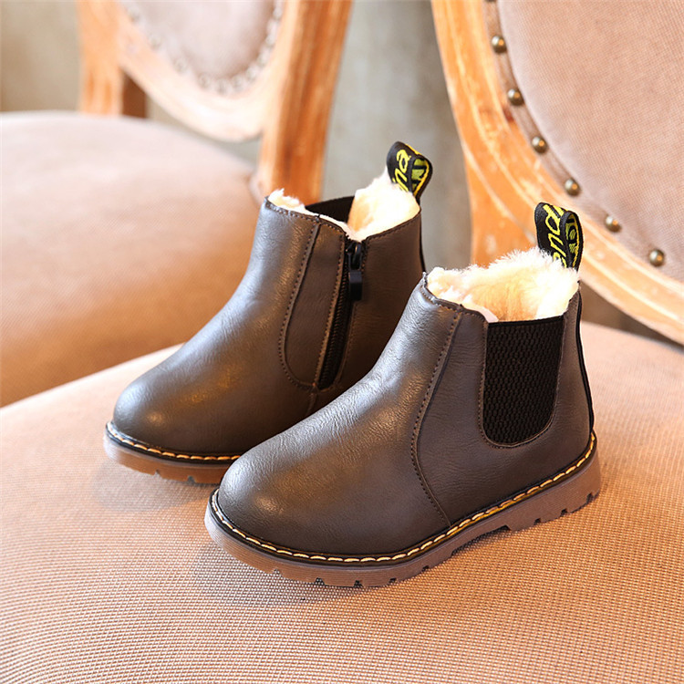 8985340573c88 Child Kids Boys Girls Warm Leather Fur Snow Boots Winter Warm Baby ...