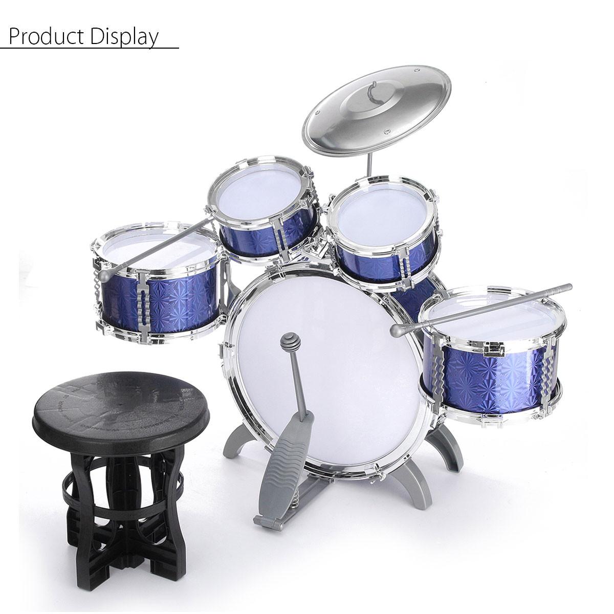 child kids blue drum set 5 piece junior complete starter kit with stool sticks 6134561719577 ebay. Black Bedroom Furniture Sets. Home Design Ideas