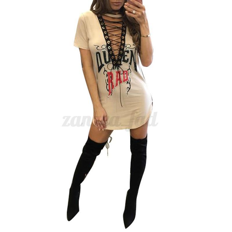 Women-Choker-V-Neck-Bandage-Long-T-Shirt-Lace-Up-Mini-Dress-Blouse-Tops-T-Shirt
