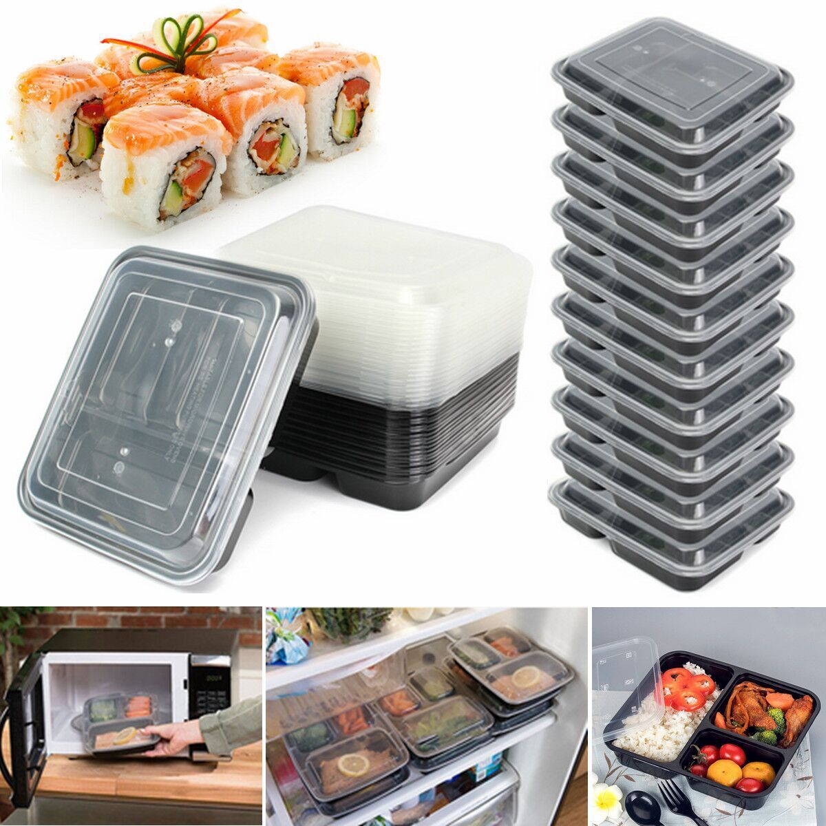 10 20pcs microwave plastic meal prep container lunch box food storage takeaway ebay. Black Bedroom Furniture Sets. Home Design Ideas