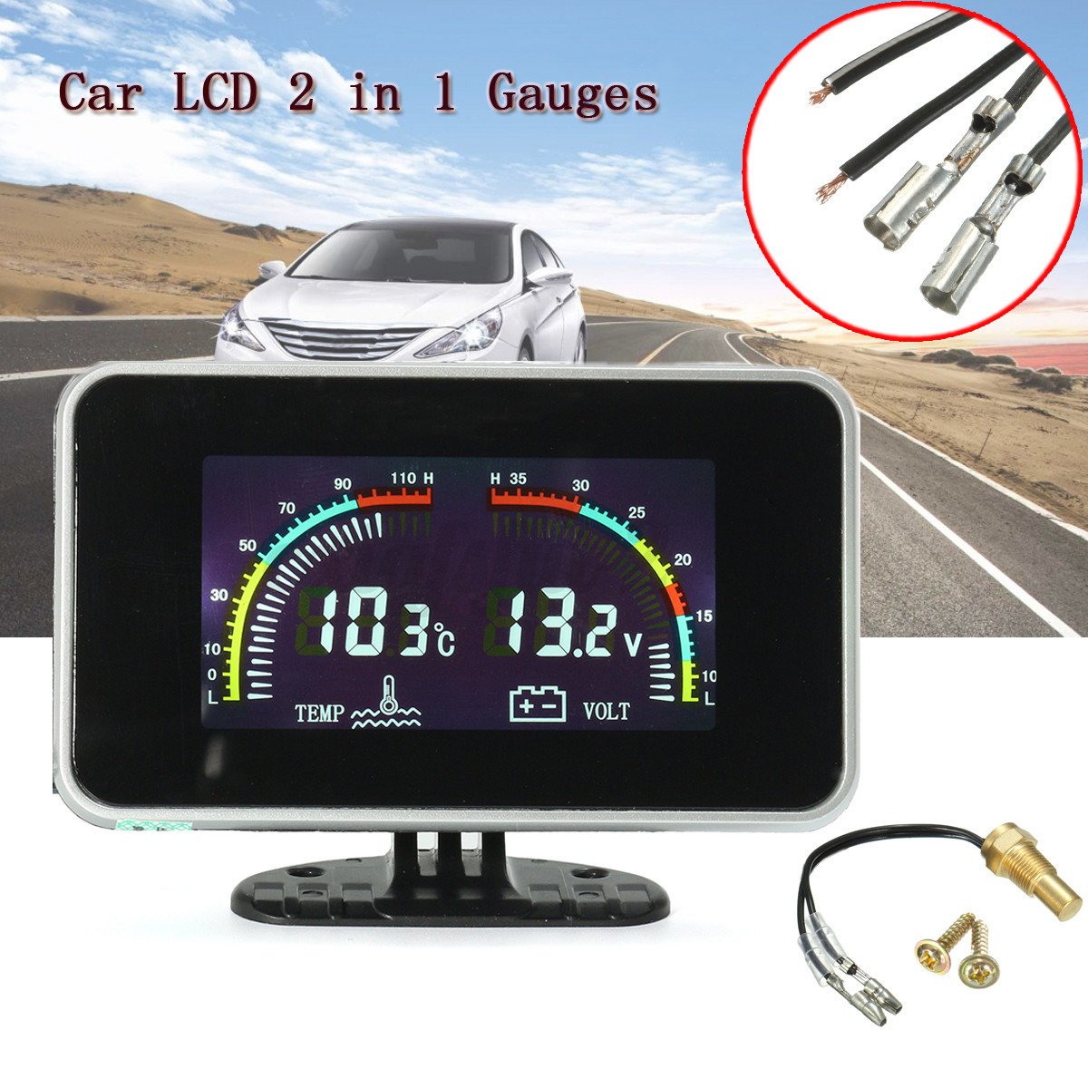 Image Is Loading Uk Car Digital Water Temperature Meter Gauge Thermometer