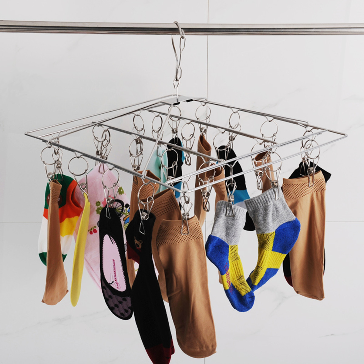 Clothes Hanger Laundry Hanging Dryer 26 Clips Stainless Steel Sock