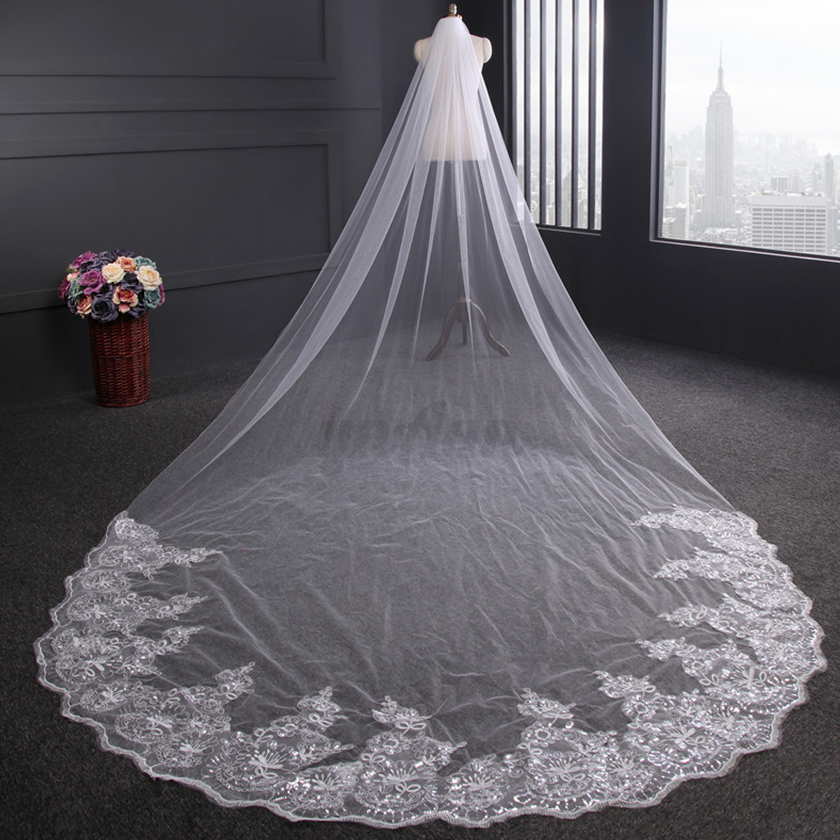 4m luxury 1 tier cathedral wedding lace sequins applique for Long veil wedding dresses