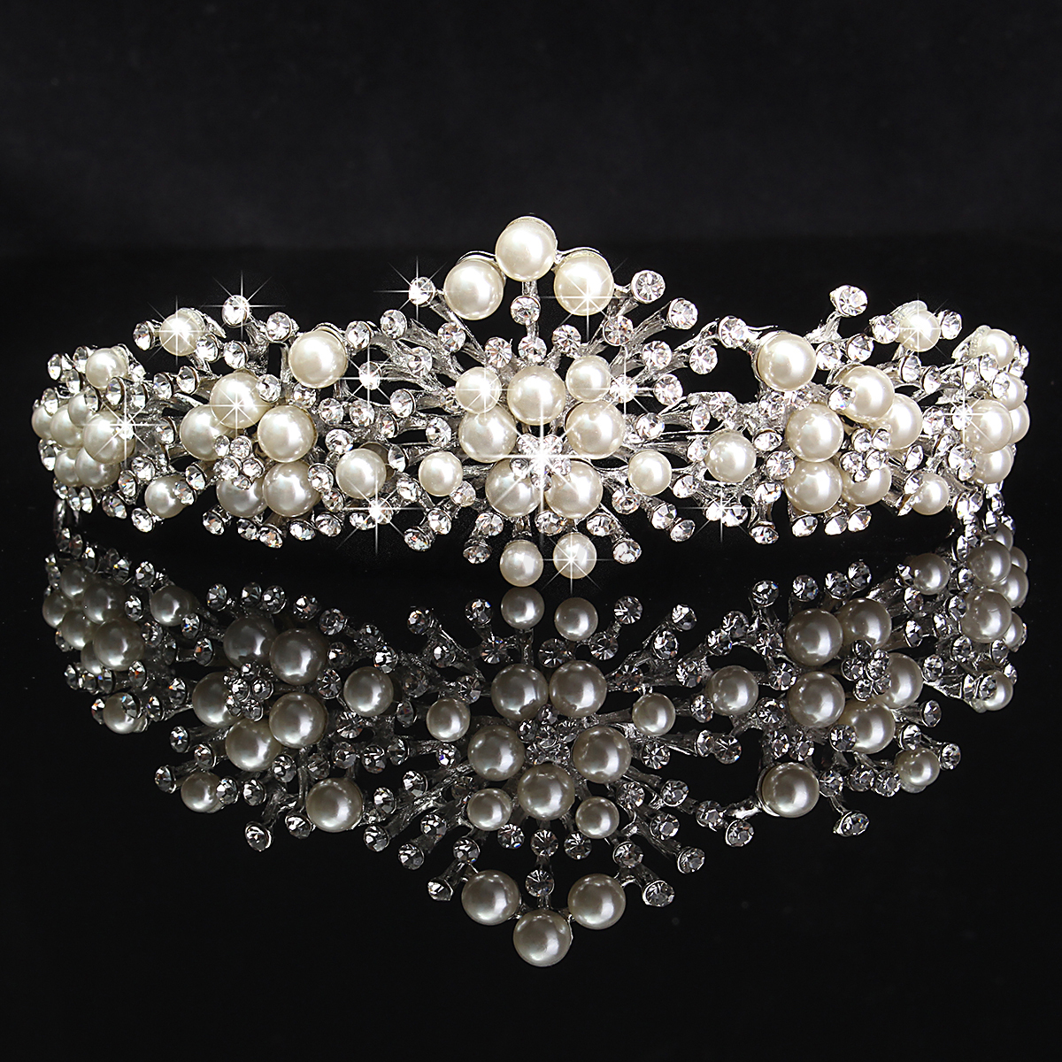 Princess-Bridal-Wedding-Prom-Headband-Crystal-Rhinestone-Pearl-Veil-Tiara-Crown thumbnail 31