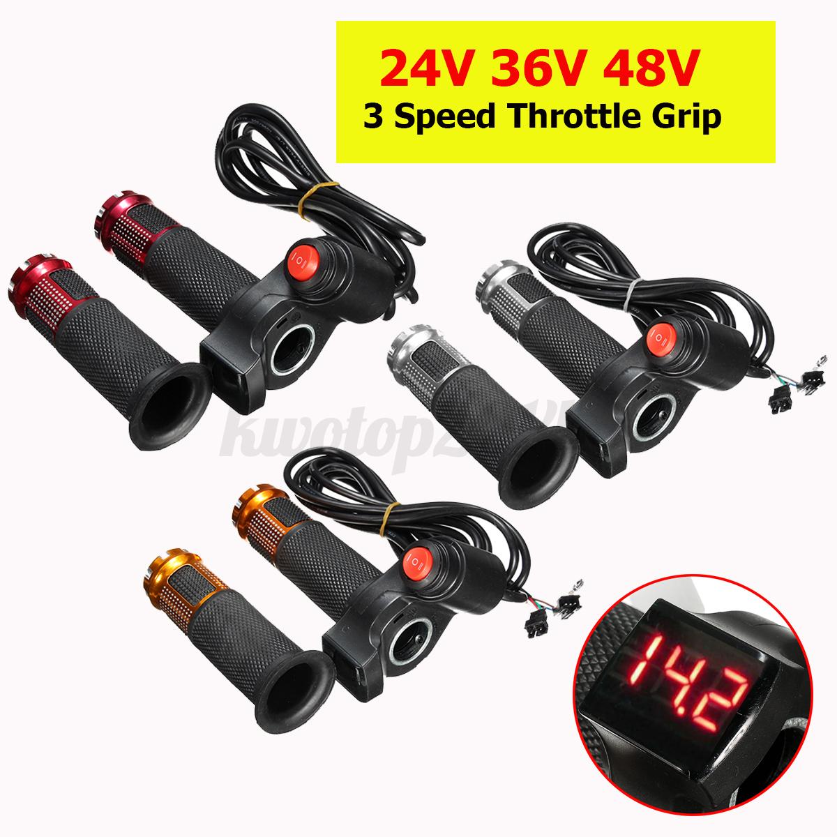 24V 36V 48V 3 Speed E-bike Scooter Throttle Grip Handlebar LED Digital Meter