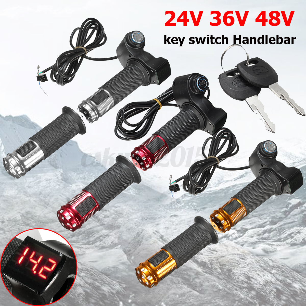 24v 36v 48v Electric Scooter Bike Throttle Grip Handlebar + Key Switch Led Meter - unbranded/generic - ebay.co.uk