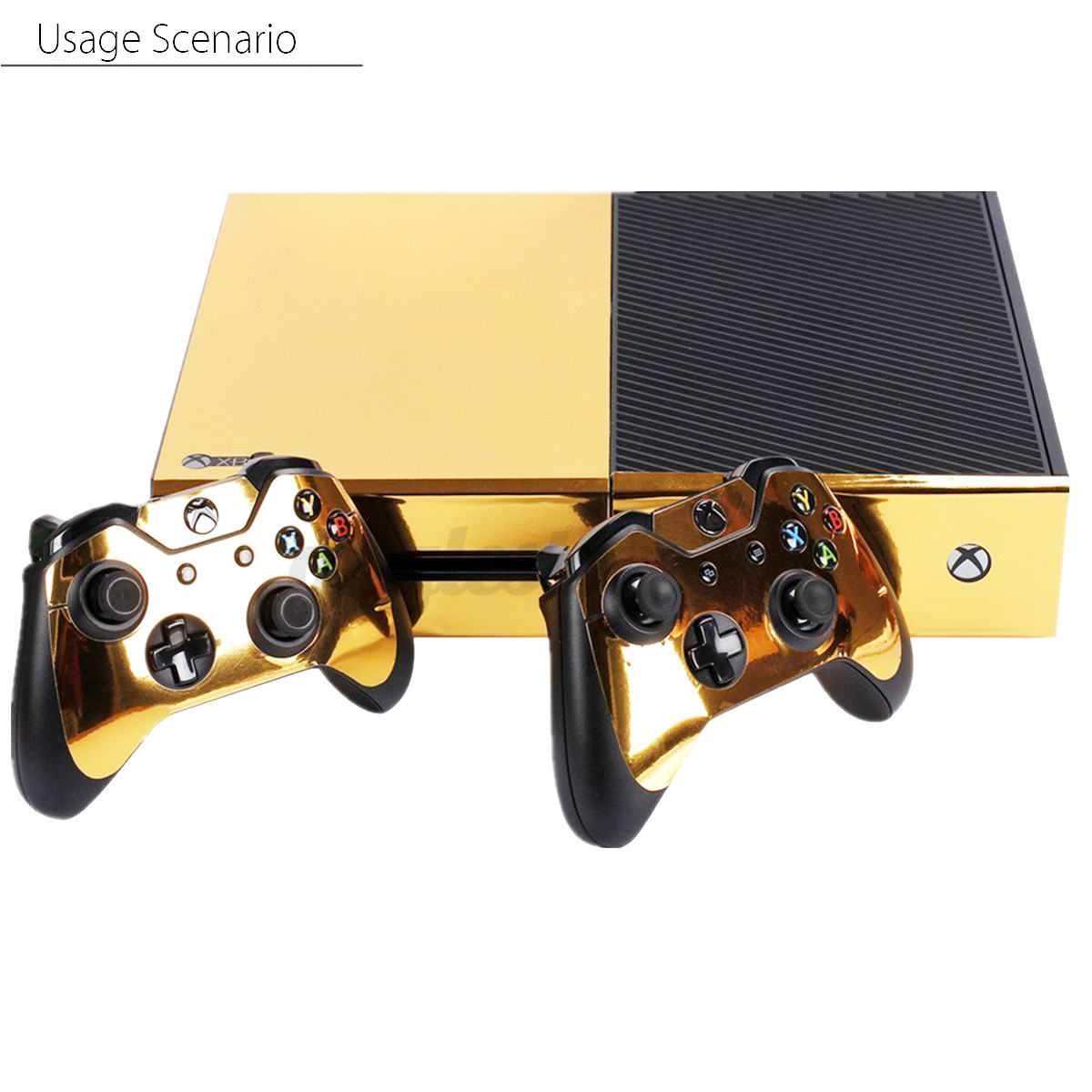 Chrome Gold Glossy Full Cover For Xbox One Slim Console ... |Gold Xbox One Controller Skin