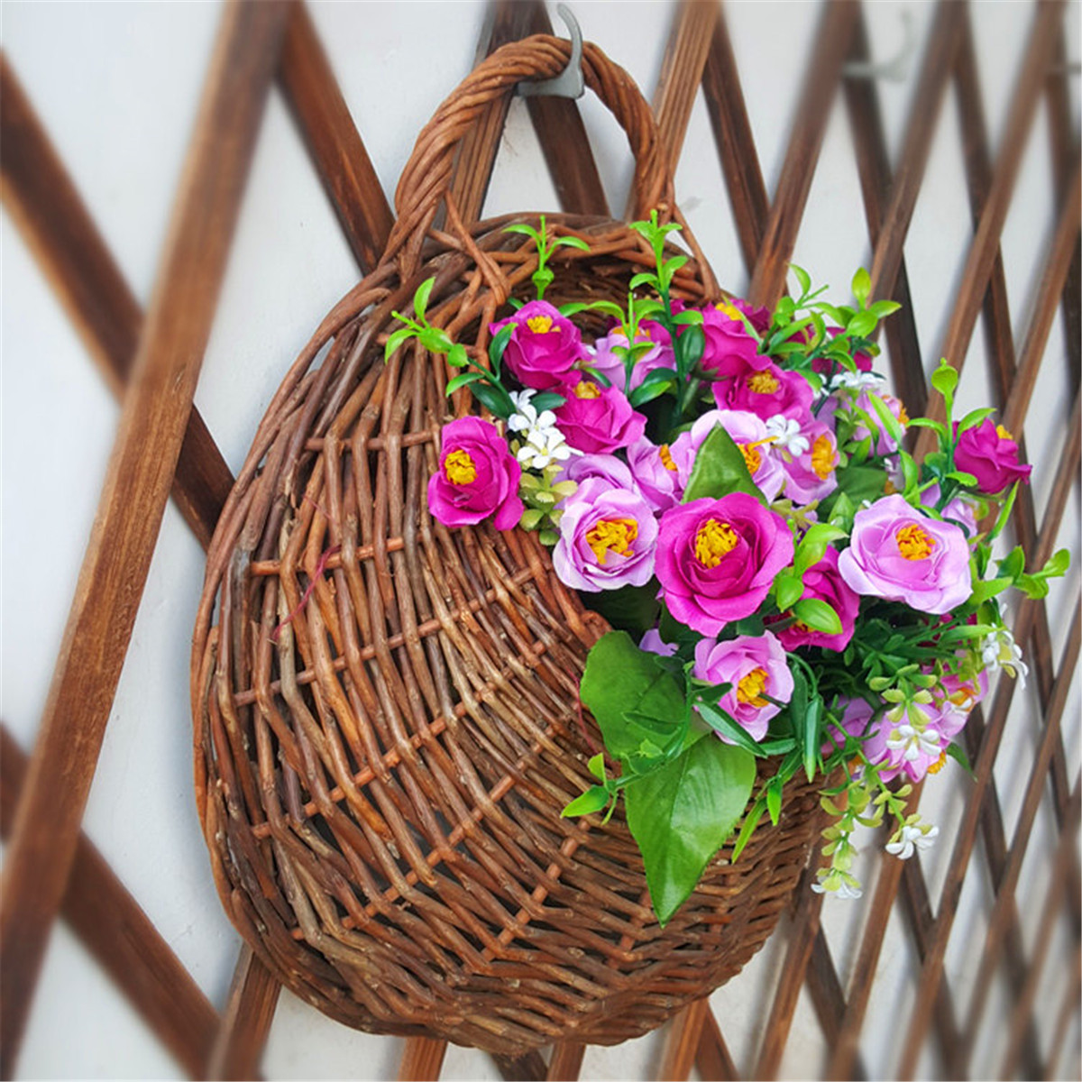 Wall Mount Flower Basket : Wall mounted plant flower hanging stand holder hydroponic