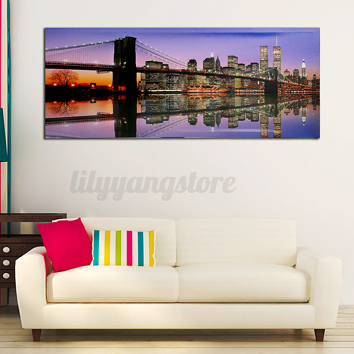 led light up lighted christmas canvas painting river horses wall art home decor ebay. Black Bedroom Furniture Sets. Home Design Ideas