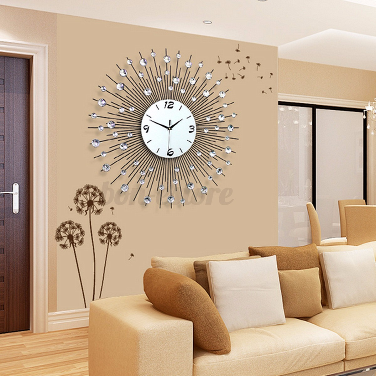 iron art metal living bed room round diamond wall clock watch home wall decor us ebay. Black Bedroom Furniture Sets. Home Design Ideas