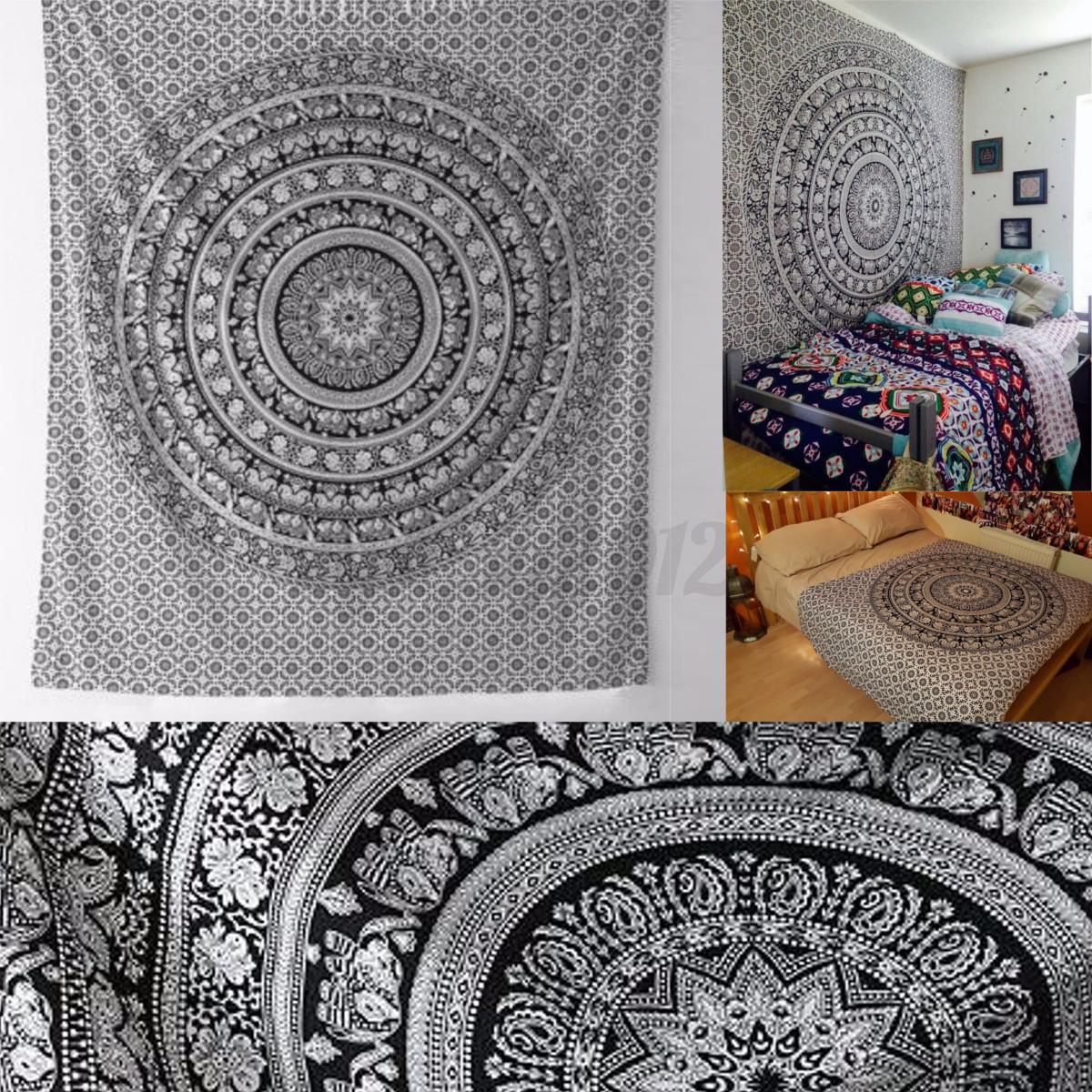 mandala boh me hippie tenture murale jet lit serviette. Black Bedroom Furniture Sets. Home Design Ideas