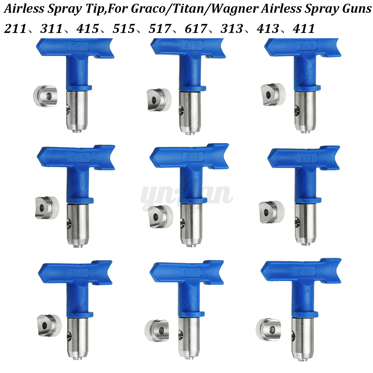 airless pulv risation pistolet de peinture buse spray gun bleu universel ebay. Black Bedroom Furniture Sets. Home Design Ideas