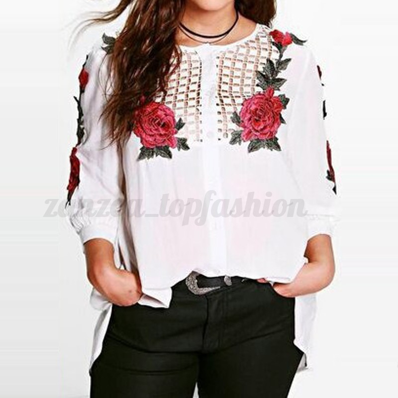 Plus Size S-4XL Women's Loose 3/4 Sleeve Floral Hollow Casual Blouse Shirt Tops