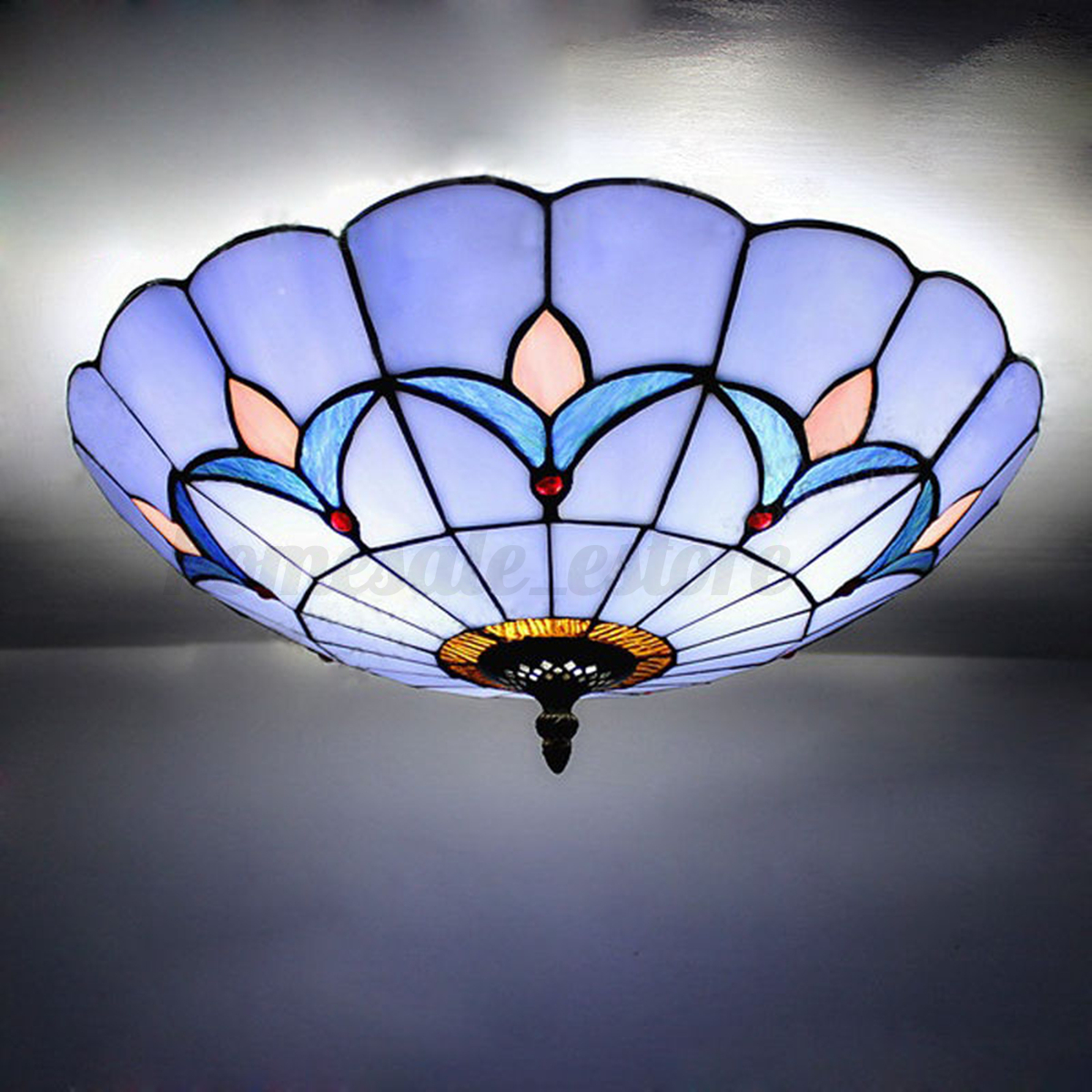 Glass Ceiling Lights: Romance Style Stained Glass Ceiling Lighting Fixture Flush