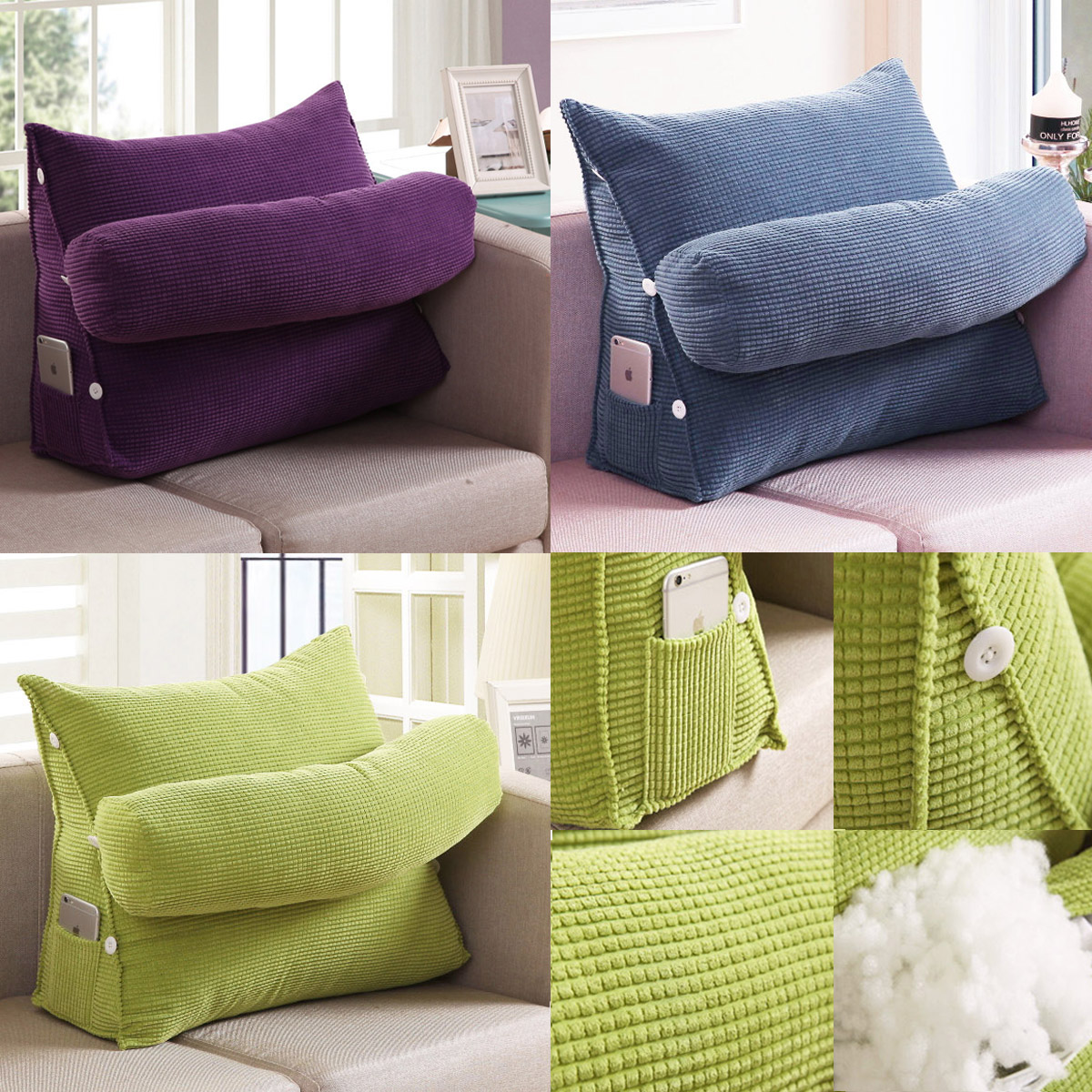 Detail Image & Adjustable Wedge Rest Neck Back Pillow Home Sofa Bed Lumbar Office ...