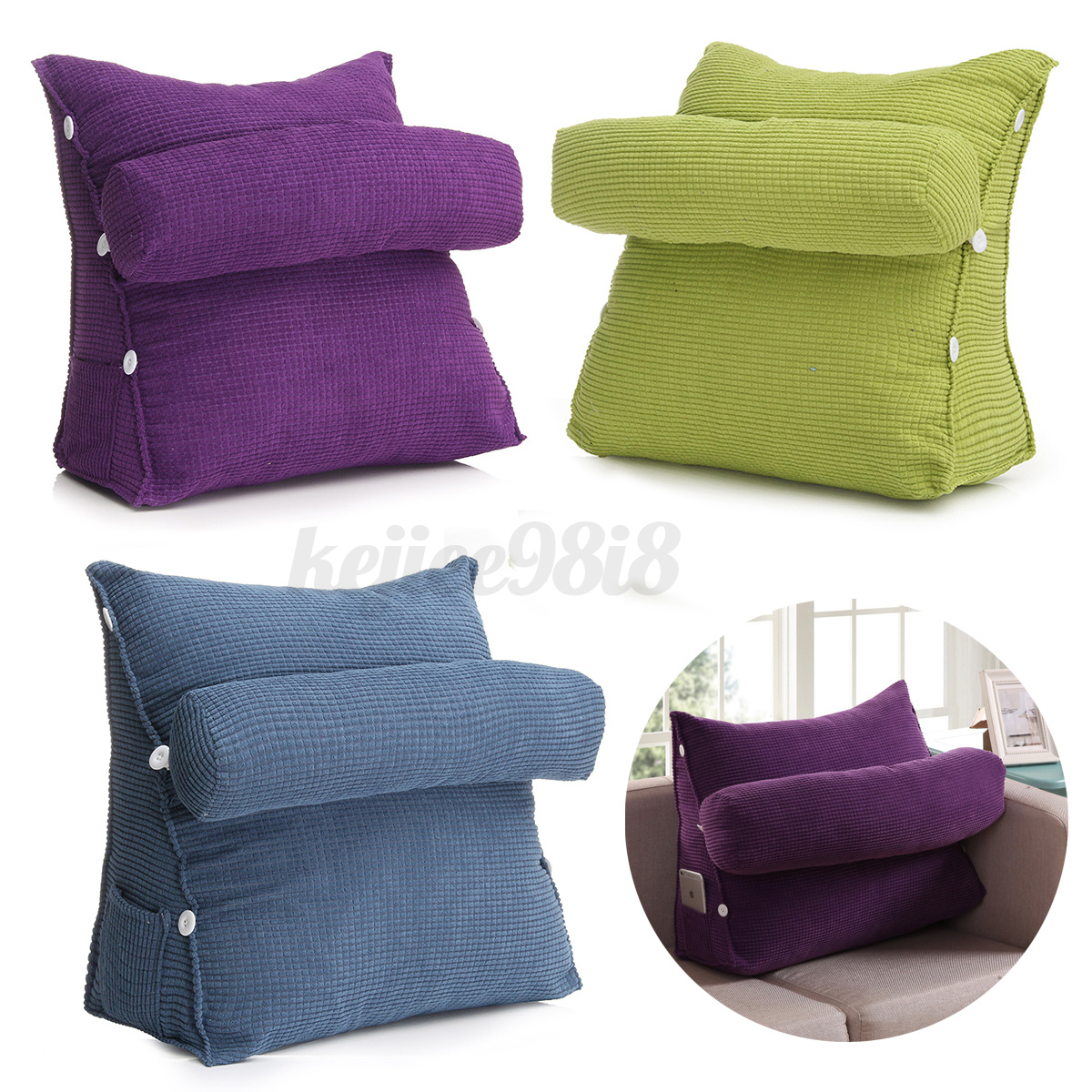 Adjustable back wedge cushion pillow sofa bed office chair for Chair pillow