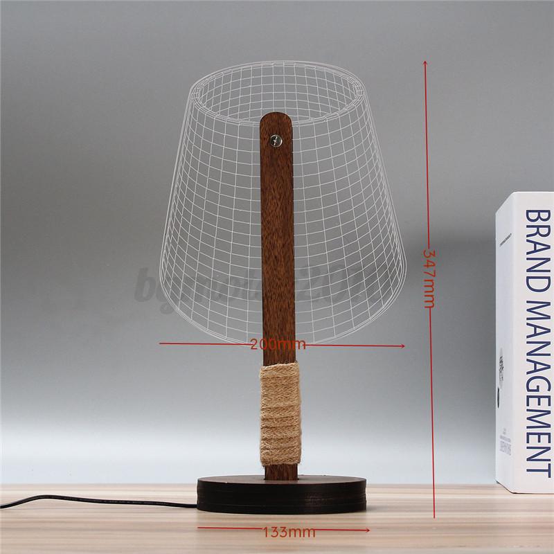 3D-LED-Lampe-de-Lecture-Dimmable-Bois-Veilleuse-Table-Chevet-Bureau-Blanc-Chaud miniature 11