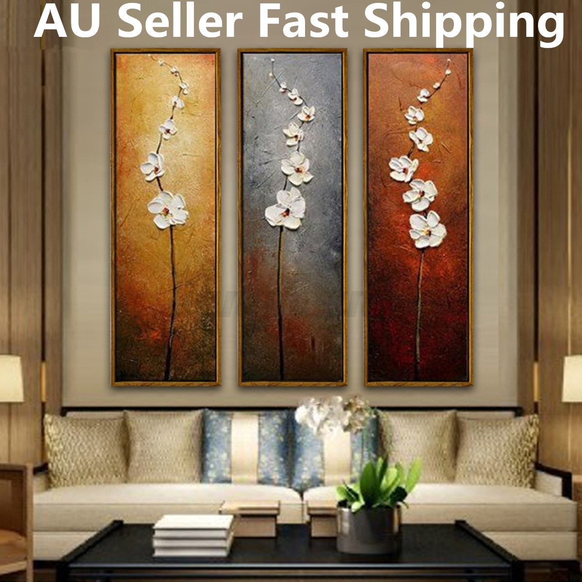 3pcs Unframed Colorful Flower Canvas Abstract Painting Print Art
