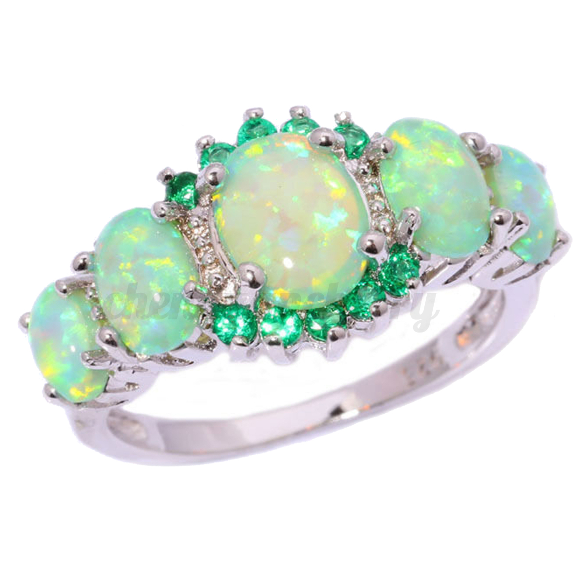 2019 year style- Opal fire wedding rings