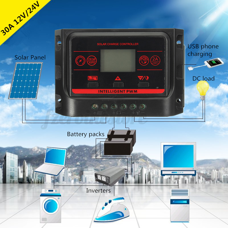 10-30A PWM LCD Dual USB Solar Panel Battery Regulator Charge Controller 12/24V