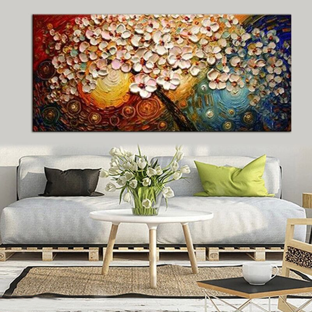 Hand painted flower tree canvas abstract painting print for Buy canvas wall art