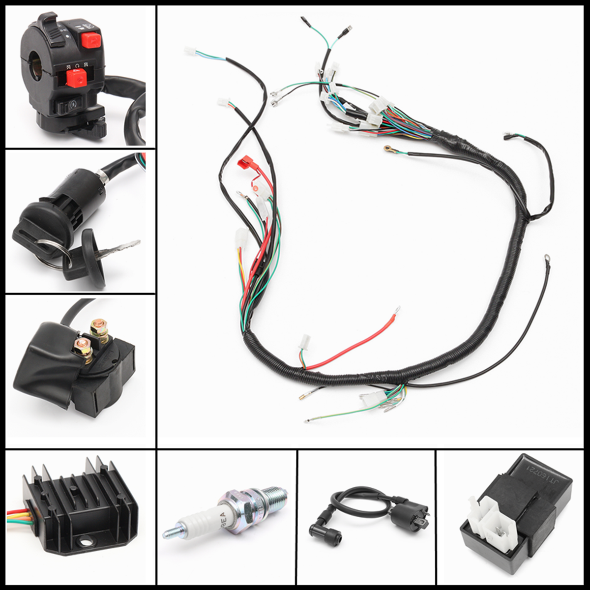 wiring harness loom solenoid coil rectifier cdi fit 120 150 250cc rh ebay com ebay wiring harness for 2002 jeep wiring harness on ebay