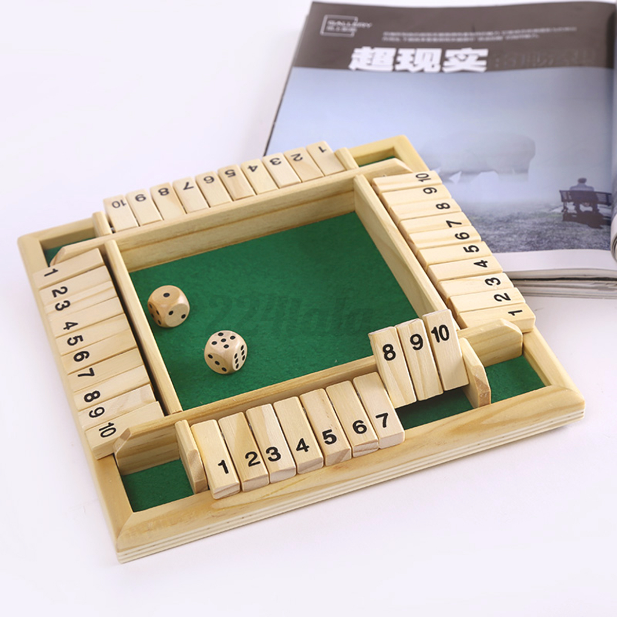 New Box Games : Shut the box game wooden board number drinking dice toy