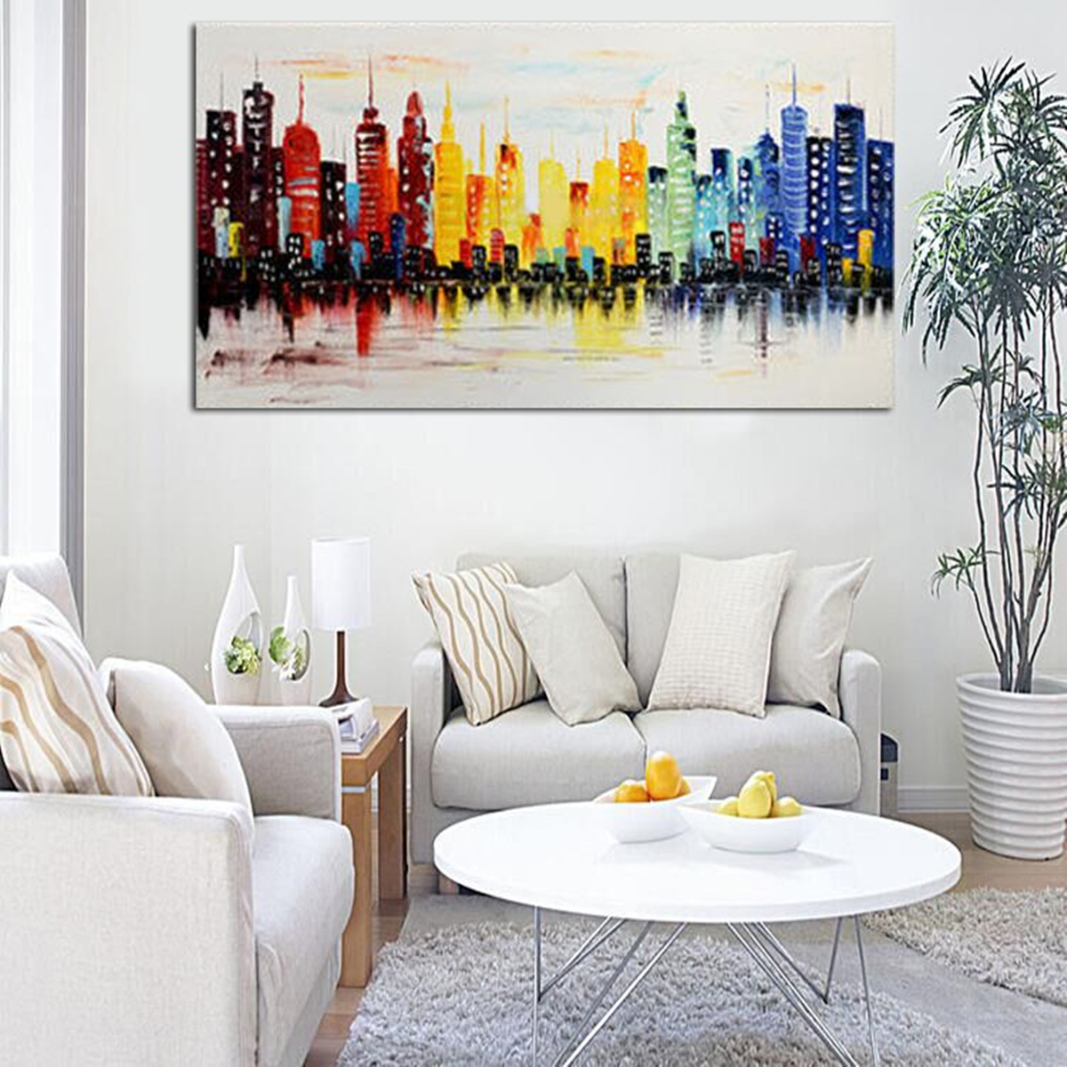 abstract living room art modern city canvas abstract painting print living room 13850