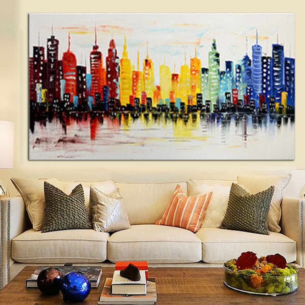 living room abstract art modern city canvas abstract painting print living room 14027