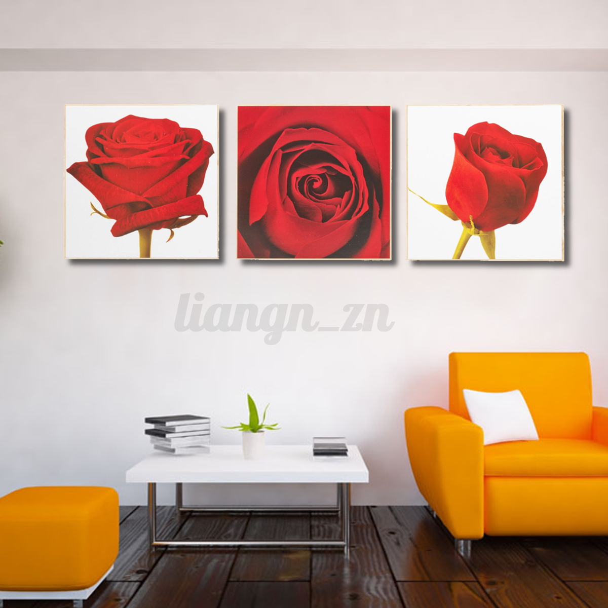 3PCS Unframed Canvas Wall Art Print Flowers Nightscape