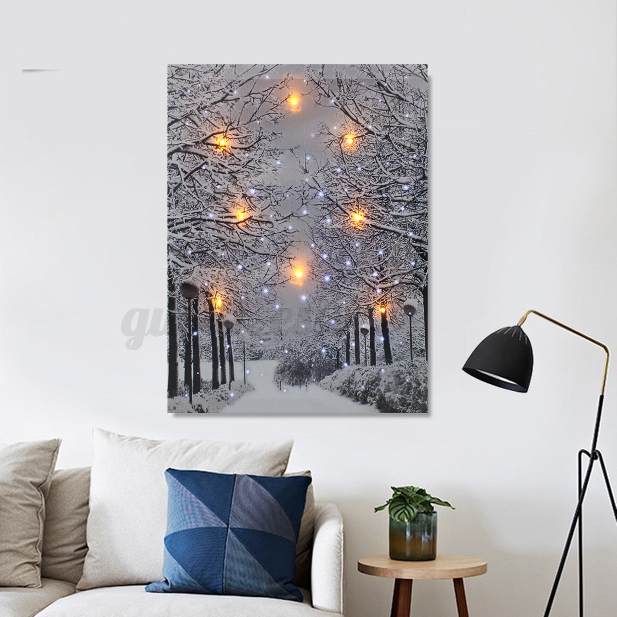 framed led tree snow lighted canvas painting print home wall art picture decor ebay. Black Bedroom Furniture Sets. Home Design Ideas