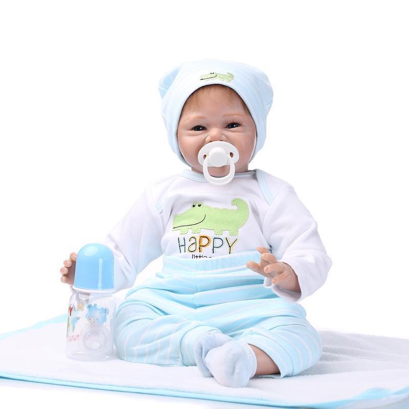 55cm Silikon Lebensecht Junge Reborn Baby Puppe Babypuppe mit Kleider Nippel K