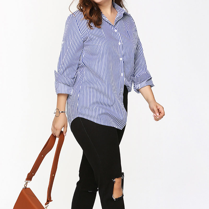 Plus-Size-Women-039-s-Shirt-Casual-Long-Sleeve-Button-Down-Stripe-Top-T-Shirt-Blouse
