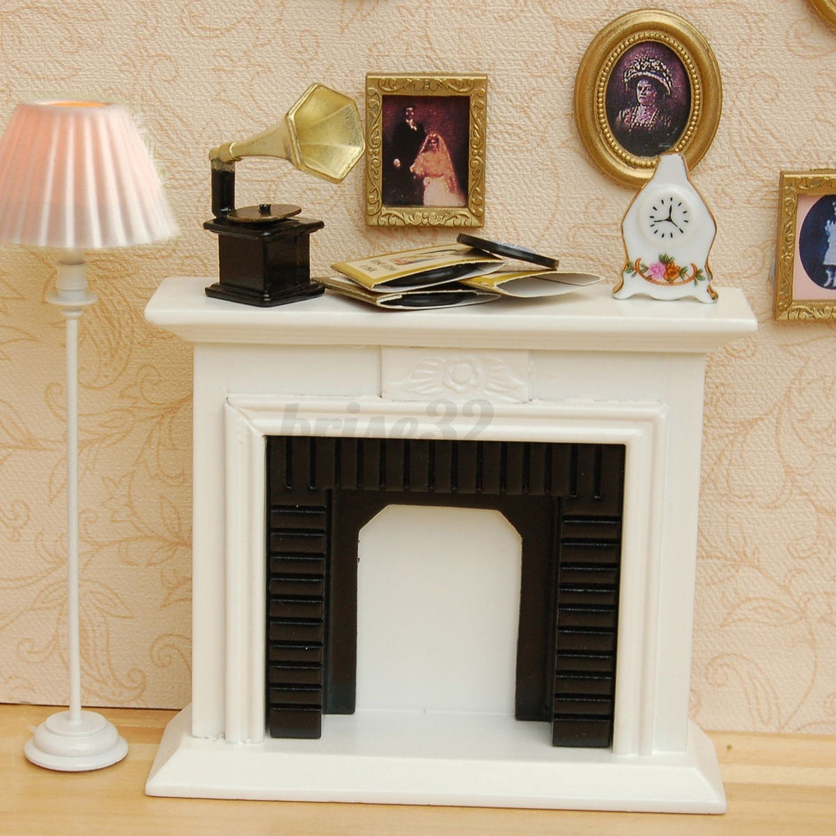 Miniature Wooden Vintage Fireplace For 1:12 Dollhouse Room Furniture Decor US
