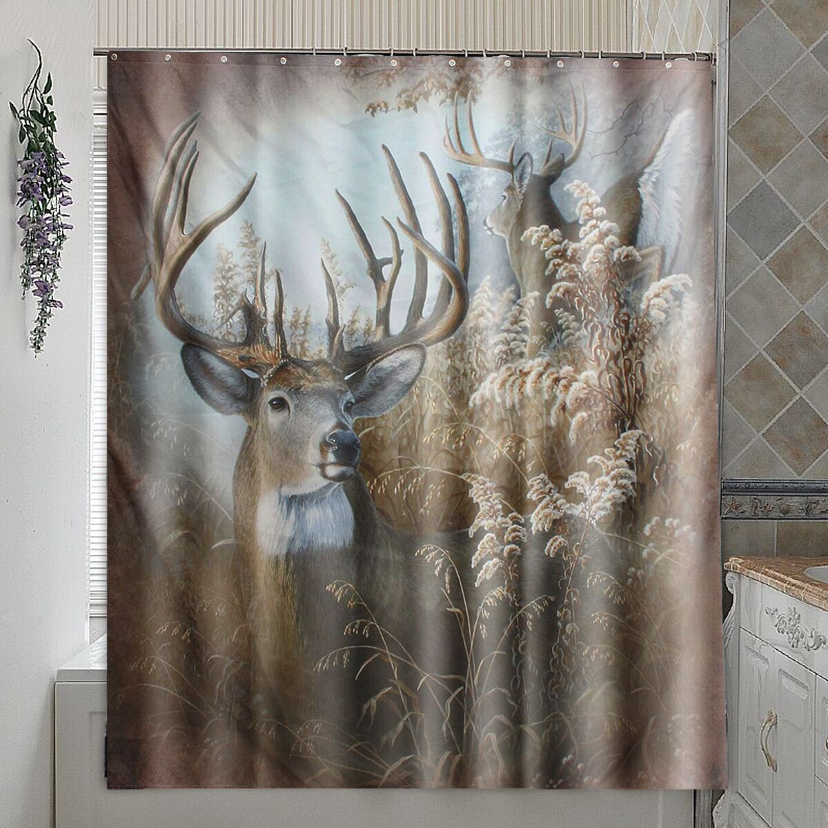 New Deer 70 Fabric Bath Shower Curtain Rustic Bathroom Hunting Cabin Home Decor Ebay