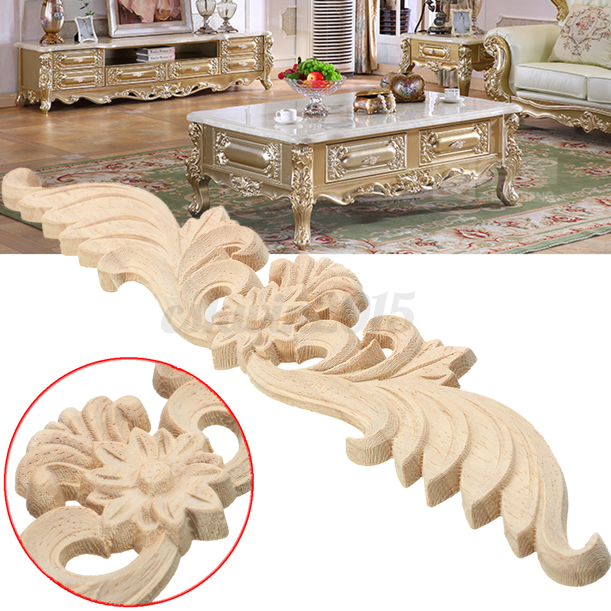 Lots type wood carved onlay applique unpainted flower door for Applique furniture decoration