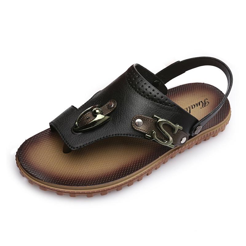 Men-039-s-Summer-Shoes-Beach-Slip-On-Slippers-Casual-Flip-Flops-Leather-Sandals thumbnail 14