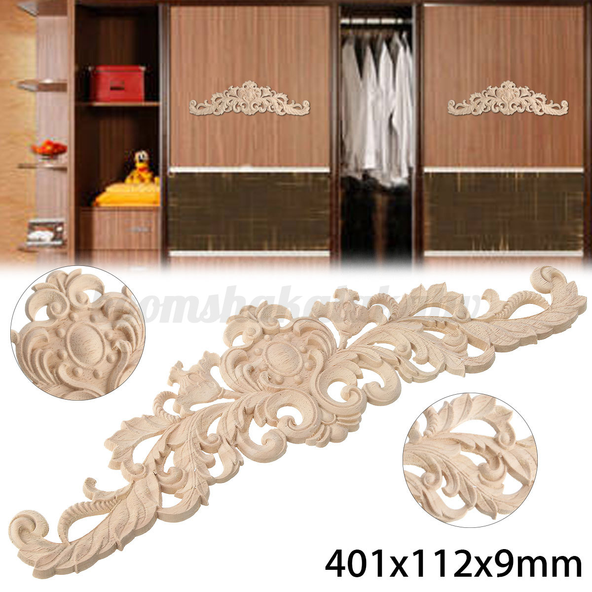 Wood carved applique craft frame onlay decal european for Applique furniture decoration