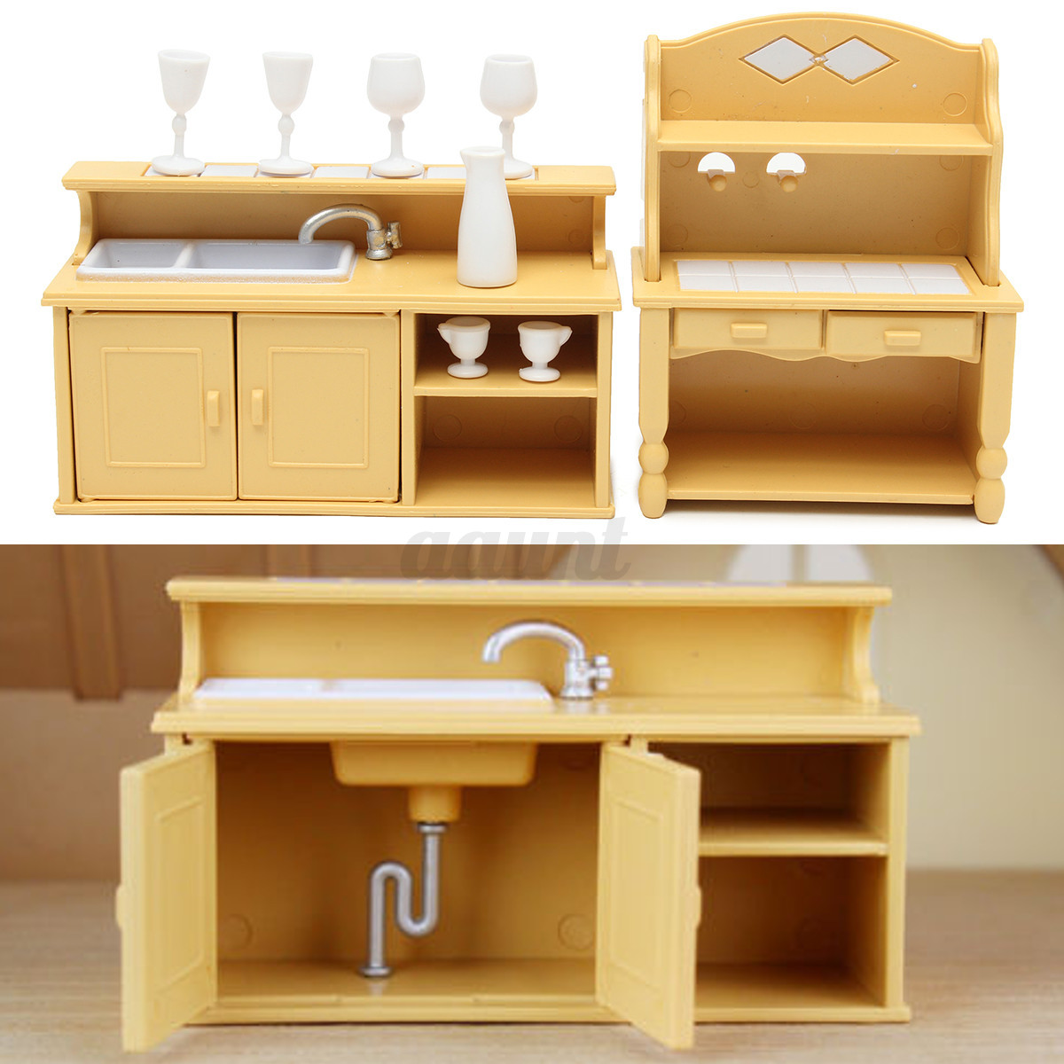 Cabinets Plastic Kitchen Miniature DollHouse Furniture