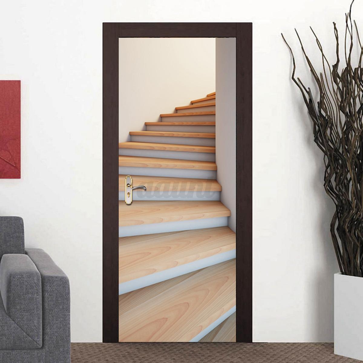 3d Pvc Self Adhesive Door Wall Sticker Living Room Forest Bridge
