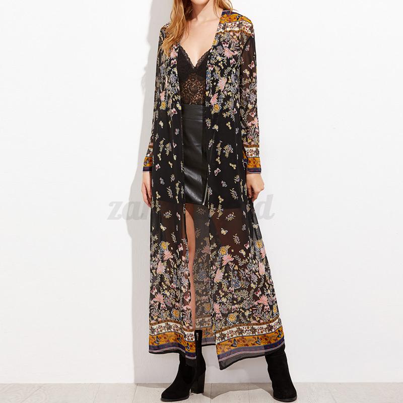 damen kimono cardigan tops gebl mt lange maxikleid. Black Bedroom Furniture Sets. Home Design Ideas