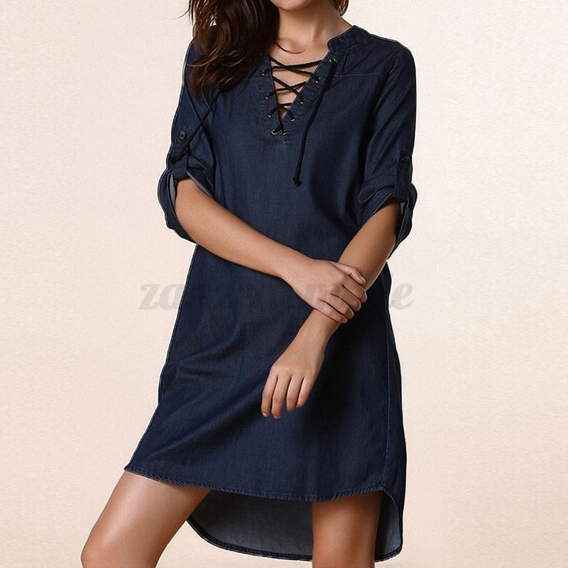 Women-Long-Sleeve-Lace-Up-V-neck-Denim-Blue-Jean-Look-Party-Shirt-Dress-Blouses