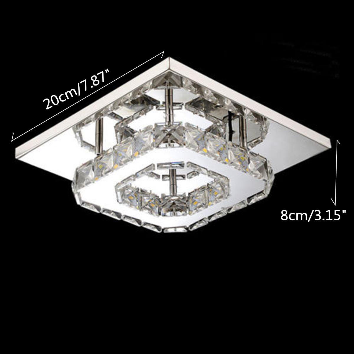 Modern Square 20cm 12w Led Crystal Ceiling Lights